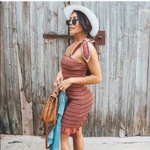 VICI Smoked Tube Dress with Scarf Ties Small